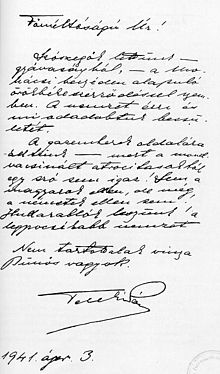 Suicide note wikipedia suicide letter of hungarian prime minister pl teleki from 1941 addressed to regent mikls horthy expocarfo