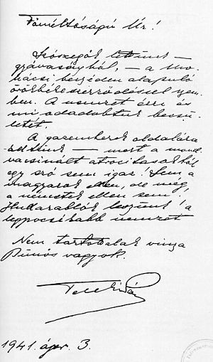 Suicide note - Suicide letter of Hungarian prime minister Pál Teleki from 1941, addressed to Regent Miklós Horthy
