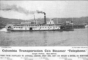 Telephone (sternwheeler) - Advertisement for steamer Telephone, circa 1887