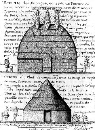 History of Natchez, Mississippi - Great Temple on Mound C and the Sun Chiefs cabin, drawn by Alexandre de Batz in the 1730s