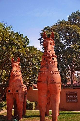 Sanskriti Museums - Terracotta horses, companions of Aiyanar, Tamil village God. Sanskriti Museum