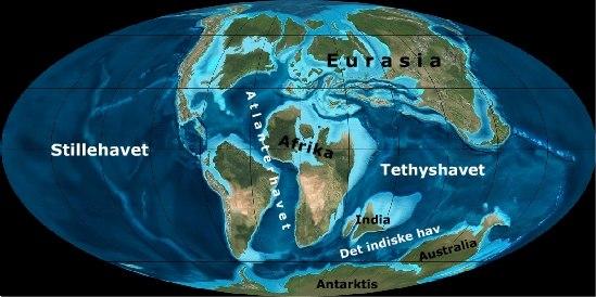 Tethyshavet lukkes. Verden for 90 millioner år siden.