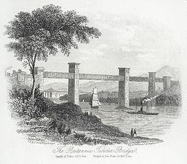 The Britannia tubular bridge: length of tubes, 1,380 feet: weight of iron work, 10,000 tons