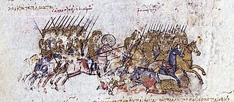 Abu'l-Aswar Shavur ibn Fadl - The defeat of the Byzantines before Dvin, miniature from the Madrid Skylitzes