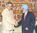 The Chief Minister of Chattisgarh, Dr. Raman Singh meeting with the Deputy Chairman Planning Commission, Shri Montek Singh Ahluwalia to finalize Annual Plan 2006-07 of the State, in New Delhi on March 13, 2006.jpg
