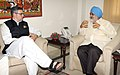The Chief Minister of Jammu & Kashmir, Shri Omar Abdullah meeting the Deputy Chairman, Planning Commission, Shri Montek Singh Ahluwalia for finalizing plan size for 2013-14 for the State, in New Delhi on July 09, 2013.jpg