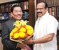 The Chief Minister of Sikkim, Shri Pawan Kumar Chamling meeting the Union Minister for Law & Justice, Shri D.V. Sadananda Gowda, in New Delhi on November 17, 2015.jpg