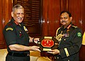 The Chief of Army Staff, General Bipin Rawat presenting the memento to the Chief of Army Staff, Bangladesh Army, General Aziz Ahmed, in New Delhi on August 01, 2018.JPG