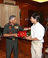 The Chief of Army Staff, General V.K. Singh felicitated Arjun Vajpai, a young boy who scaled Mt Everest recently, in New Delhi on June 03, 2010.jpg