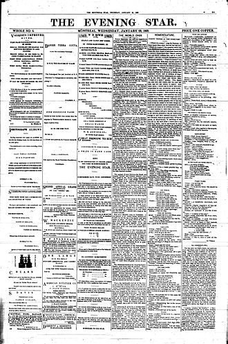 History of Canadian newspapers - The Montreal Evening Star in 1869