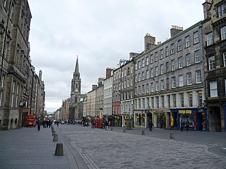 Royal Mile - Looking down the High Street towards the Tron Kirk, the section rebuilt in 1828 following the Great Fire of Edinburgh (1824).