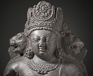 Nīlakaṇṭha Dhāraṇī - A depiction of Vishnu (Vaikuntha Chaturmurti) showing three faces: lion, human, and boar.