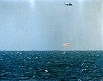The Mercury-Atlas 9 Faith 7 spacecraft, with astronaut L. Gordon Cooper Jr. aboard, splashes down in the Pacific Ocean.jpg