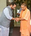 The Minister of State for Minority Affairs (Independent Charge) and Parliamentary Affairs, Shri Mukhtar Abbas Naqvi meeting the Chief Minister of Uttar Pradesh, Shri Yogi Adityanath, in Lucknow, Uttar Pradesh.jpg