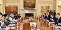 The Prime Minister, Shri Narendra Modi and the Prime Minister of the Republic of Latvia, Mr. Maris Kucinskis at the delegation level talks, at Hyderabad House, in New Delhi on November 03, 2017.jpg