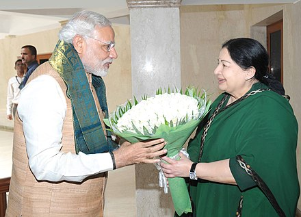 Jayalalithaa welcoming prime minister Narendra Modi The Prime Minister, Shri Narendra Modi meeting the Chief Minister of Tamil Nadu, Ms. J. Jayalalithaa, in Chennai, Tamil Nadu on August 07, 2015.jpg