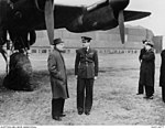 The Prime Minister of Australia, the Right Honourable John Curtin with Group Captain Hughie I. Edwards VC DSO DFC.JPG