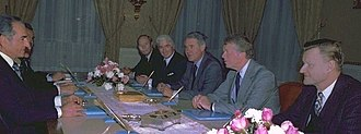 Zbigniew Brzezinski - The Iranian Shah, Mohammad Reza Pahlavi, meeting with Arthur Atherton, William H. Sullivan, Cyrus Vance, President Jimmy Carter, and Zbigniew Brzezinski, in 1977