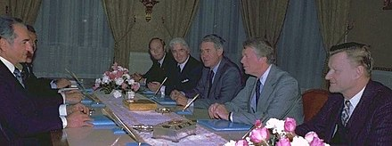 The Iranian Shah, Mohammad Reza Pahlavi, meeting with Arthur Atherton, William H. Sullivan, Cyrus Vance, President Jimmy Carter and Zbigniew Brzezinski in Tehran, 1977 The Shah with Atherton, Sullivan, Vance, Carter and Brzezinski, 1977.jpg