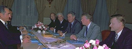 The Shah of Iran (left) meeting with members of the U.S. government: Alfred Atherton, William Sullivan, Cyrus Vance, Jimmy Carter, and Zbigniew Brzezinski, 1977 The Shah with Atherton, Sullivan, Vance, Carter and Brzezinski, 1977.jpg