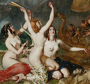 three naked women, with different hair colour but otherwise very similar appearance. Two hold musical instruments.