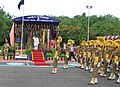 The Union Minister for Civil Aviation, Shri Ajit Singh taking the Salute of the Passing out Parade of First batch of A S IExe trainees of CISF, at Regional Training Centre Arakkonam, in Tamil Nadu on July 21, 2012.jpg