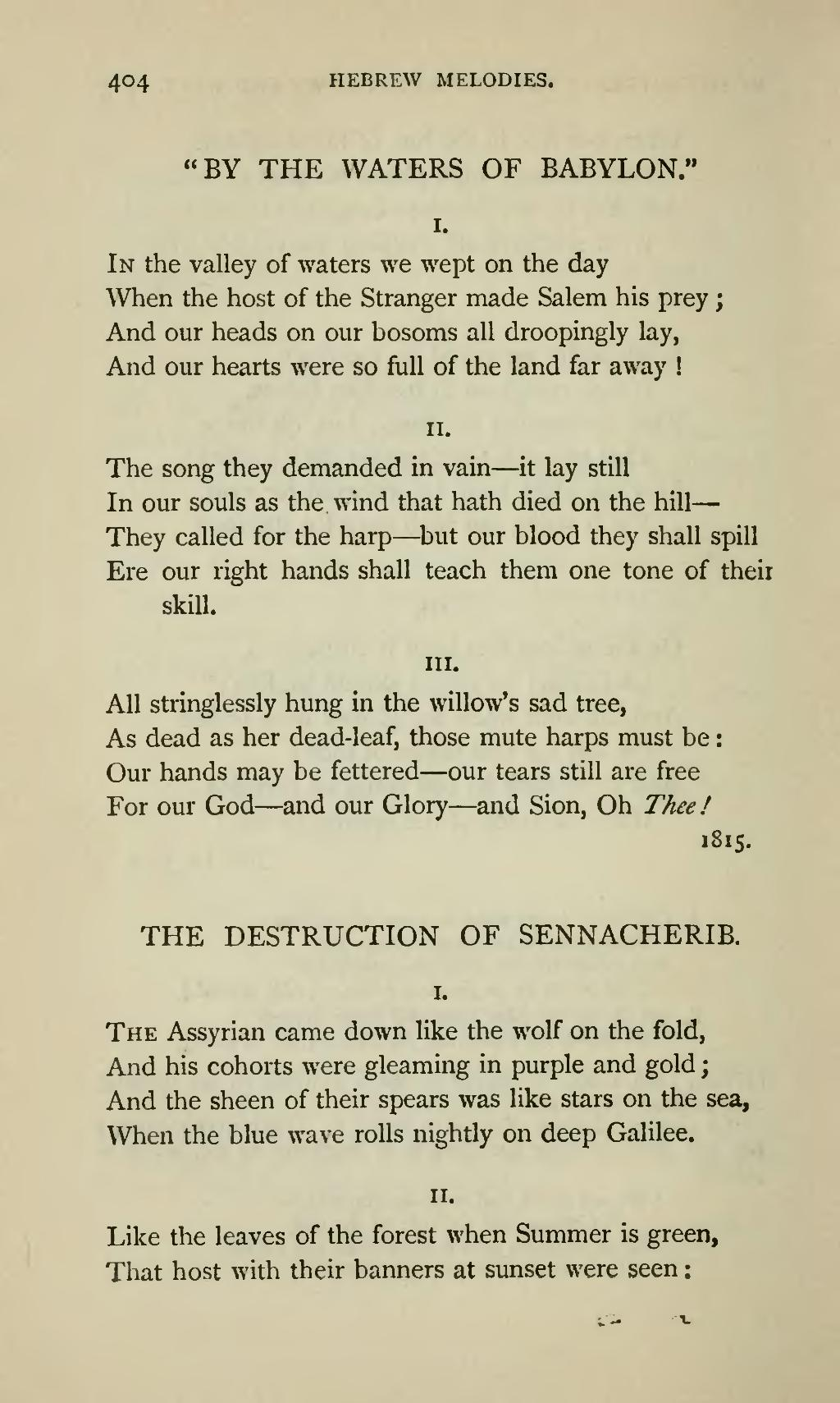 the assyrian came down like a wolf on the fold