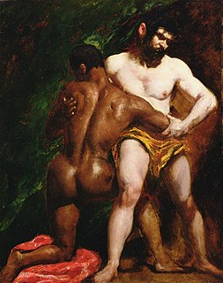 <i>The Wrestlers</i> (Etty) c. 1840 painting of two wrestlers by William Etty