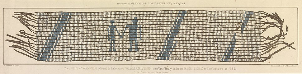The belt of wampum delivered by the Indians to William Penn at the %22Great Treaty%22 (1682)