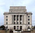 The federal courthouse and post office in Texarkana. Like the city, this building is half in Texas (to the left in this photo) and half in Arkansas LCCN2014630234.tif