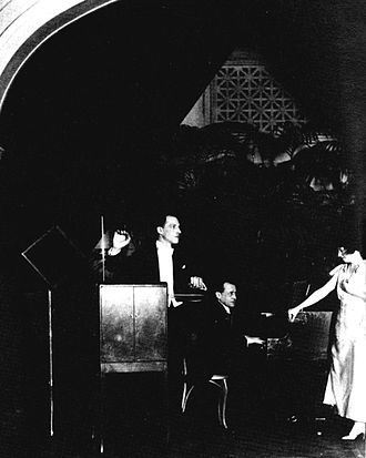 Leon Theremin performing a trio for voice, piano and theremin, 1924 Theremin trio (retouched).jpg