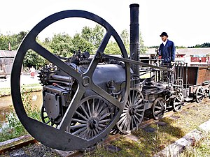 Flywheel - Trevithick's 1802 steam locomotive used a flywheel to even out the power of its single cylinder.