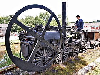 Flywheel - Trevithick's 1802 steam locomotive used a flywheel to evenly distribute the power of its single cylinder.