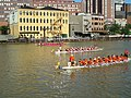 Three Dragon Boats in Last Race of the Day.jpg