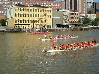 Sports in Cleveland - Dragon boat racing on the Cuyahoga River