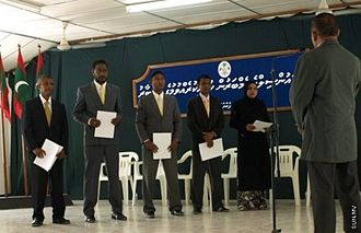 Current members of Thulhaadhoo Council taking oath Thulhaadhoo council.jpg