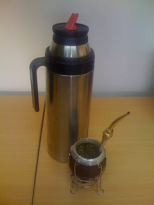 Culture of Uruguay - The invigorating yerba mate in its gourd with thermos. It is a fixture in Uruguayan daily life.