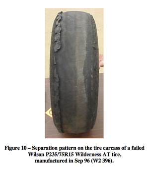 Firestone and Ford tire controversy - Tire Tread Separation of a Firestone P235/75R15 Wilderness AT tire