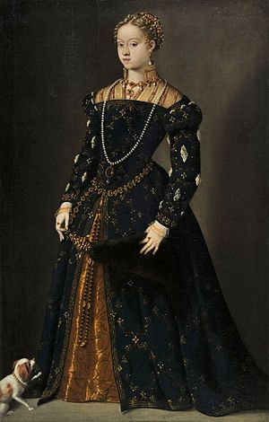 Catherine of Austria, Queen of Poland - Portrait of young Catherine (Titian, between 1548 and 1549)