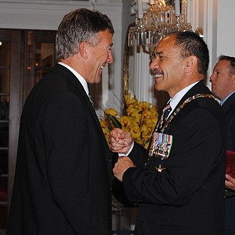 Herlihy's investiture as a Member of the New Zealand Order of Merit by the governor-general, Sir Jerry Mateparae (right), in 2012 Tony Herlihy MNZM investiture.jpg