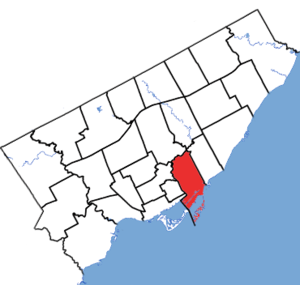 Toronto—Danforth - Toronto—Danforth in relation to the other Toronto ridings (2013 boundaries)