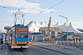 Tram in Sofia in front of Central Railway Station 2012 PD 086.jpg