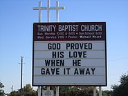 Trinity Baptist Church sign, Lytle, TX IMG 0746