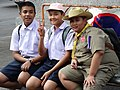 Trio of Boys in Street - Near Wat Arun - Bangkok - Thailand (11730846203).jpg