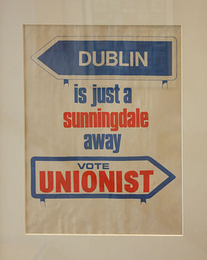 "Ian Paisley - A United Ulster Unionist poster, warning that the Sunningdale Agreement would lead to ""Dublin Rule"" (i.e. a united Ireland)"