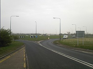 A18 road (England) - Tudworth Roundabout with the A614 and M180 – former A18(M)