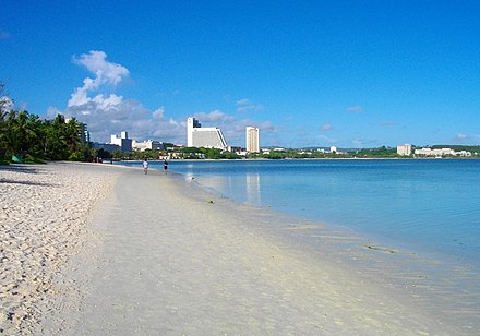 Having previously experienced extensive dredging, Tumon Bay is now a marine wildlife preserve. Tumon Beach.JPG