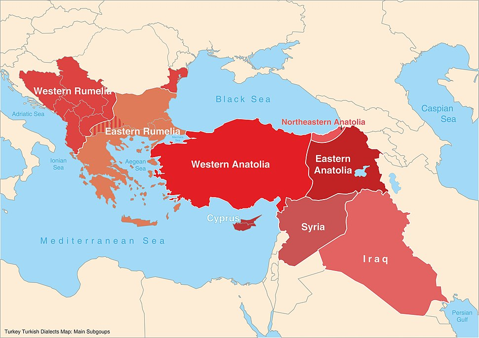 Turkey Turkish dialects map (Main subgroups) en