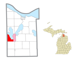 Location within Cheboygan County (red) and the administered community of Indian River (pink)