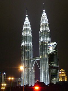 The Petronas Twin Towers were the world's tallest buildings when completed in 1999. Twin Towers in all its Glory.JPG